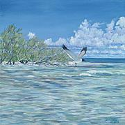 Bahamas Painting Metal Prints - SeaBlue Metal Print by Danielle Perry