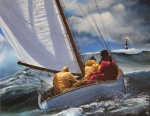 Sailboats Paintings - Seafarers Guiding LIght by Sharon Kearns
