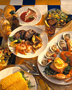 Buffet Photos - Seafood and Steak Buffet Dinners by Vance Fox