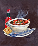 Slate Paintings - Seafood Gumbo by Elaine Hodges