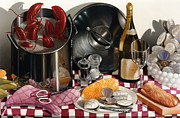 Still Life Wine Posters - SEAFOOD SERENADE 1996  Skewed perspective series 1991 - 2000 Poster by Larry Preston