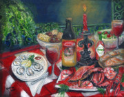 Table Cloth Posters - Seafood Soiree Poster by Karryn Arthur