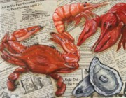 Crawfish Painting Posters - Seafood Special Edition Poster by JoAnn Wheeler