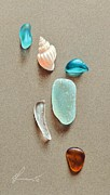Elena Kolotusha Prints - Seaglass pieces Print by Elena Kolotusha