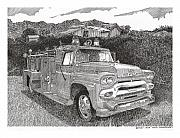 Images Drawings Framed Prints - Seagrave GMC Firetruck Framed Print by Jack Pumphrey