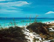 Florida Panhandle Painting Posters - Seagrove Beach Florida Poster by Racquel Morgan