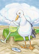 Chardonnay Mixed Media Framed Prints - Seagull  Chardonnay Framed Print by Peggy Wilson