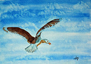 Flying Seagull Painting Framed Prints - Seagull in Flight Framed Print by Terri Mills