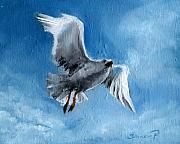 Flying Seagull Painting Framed Prints - Seagull Framed Print by Synnove Pettersen