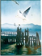 Foggy Day Painting Posters - Seagulls by the Bay Poster by Geri Jones