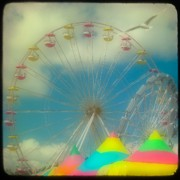 Ferris Wheels Framed Prints - Seagulls Delight Framed Print by Gothicolors And Crows