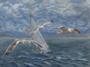 Archipelago Painting Posters - Seagulls lead the way Poster by Akvile Lawrence