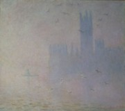 Gull Paintings - Seagulls over the Houses of Parliament by Claude Monet