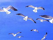 Waterfowl Paintings - Seagulls Overhead by Anne Marie Brown