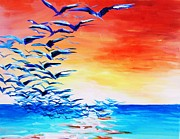 Flock Of Birds Painting Metal Prints - Seagulls rising Metal Print by Meike Aton