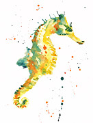 Beach Cottage Decor Posters - Seahorse  - yellow seahorse Poster by Alison Fennell