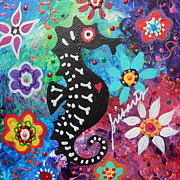 Mexican Horse Paintings - Seahorse Day Of The Dead by Pristine Cartera Turkus