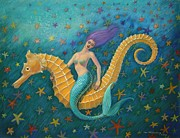 Green Pastels Posters - Seahorse Mermaid Poster by Sue Halstenberg