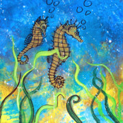 Seahorses Originals - Seahorse Muse I by Herb Dickinson