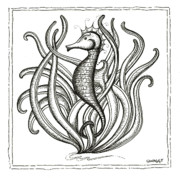 Stripes Drawings Posters - Seahorse Poster by Stephanie Troxell
