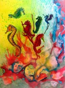 Tropical Fish Paintings - Seahorse Symphony by Liz Borkhuis