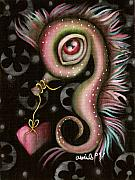 Outsider Art Paintings - Seahorse with Heart by  Abril Andrade Griffith