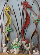 Long Leaf Pine Sculptures - Seahorses by Beth Lane Williams