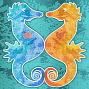 Sea Horse Digital Art - Seahorses by Mary Ogle