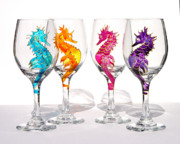 Hand Painted Glasses Glass Art - Seahorses by Pauline Ross