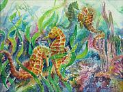 Seahorse Metal Prints - Seahorses Three Metal Print by Deborah Younglao