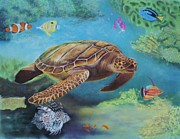 Turtle Pastels Acrylic Prints - Seaing Friends Acrylic Print by Jackie  Hill