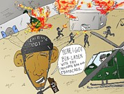 Obama Mixed Media - Seal Team 6 OB1 Cartoon by OptionsClick BlogArt