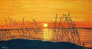 Light Orange Pastels Posters - Seaoats Sunset Poster by Jan Amiss
