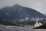 Tongass Posters - Seaplane Over Ketchikan Harbor With One Poster by Melissa Farlow