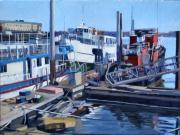 Boston Harbor Paintings - Seaport Ave by Deb Putnam
