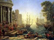 Galleon Tapestries Textiles - Seaport with the Embarkation of Saint Ursula  by Claude Lorrain