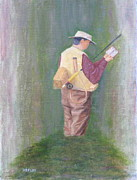 Fly Fisherman Paintings - Searching for the Perfect Match by Jim Hefley