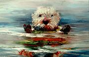 Otter Paintings - Searena by Sally Seago