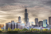 Metropolitan Landscape Posters - Sears Tower Sunset Poster by Drew Castelhano