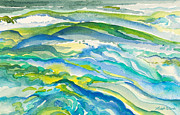 Seafoam Abstract Prints - Seas in Motion Watercolor Painting Print by Michelle Wiarda