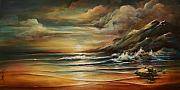 Crashing Waves Paintings - Seascape 3 by Michael Lang