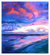 Pink Sunset Pastels Posters - Seascape 3 Poster by Sue Gardner