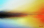 Sunset Seascape Mixed Media Prints - Seascape Print by Ahmed Darwish