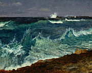Storms Painting Posters - Seascape Poster by Albert Bierstadt