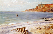 Impressionism; Impressionist; Beach; Shore; Cost; Sea; Ocean; Boat; Yacht; Sail; Sailing; Cliff; Bay; Wave;boat Paintings - Seascape at Sainte Adresse  by Claude Monet