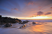 Seascape At Sunset Print by Teerapat Pattanasoponpong