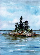 Maine Artist Paintings - Seascape Casco Bay Maine by Brenda Owen