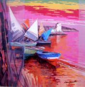 Boats In Water Paintings - Seascape Cetara Italy by Luca Guarnotti