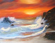 Raining Painting Originals - Seascape Collection Orange Sunset by E Luiza Picciano
