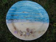 Plate Ceramics Prints - Seascape Print by Julia Van Dine